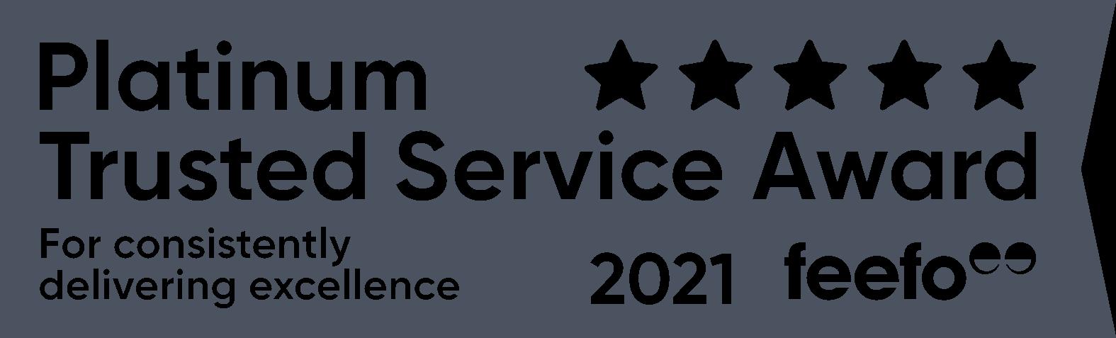 Feefo platinum award 2020